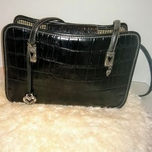 Brighton Black Leather Croc Bag